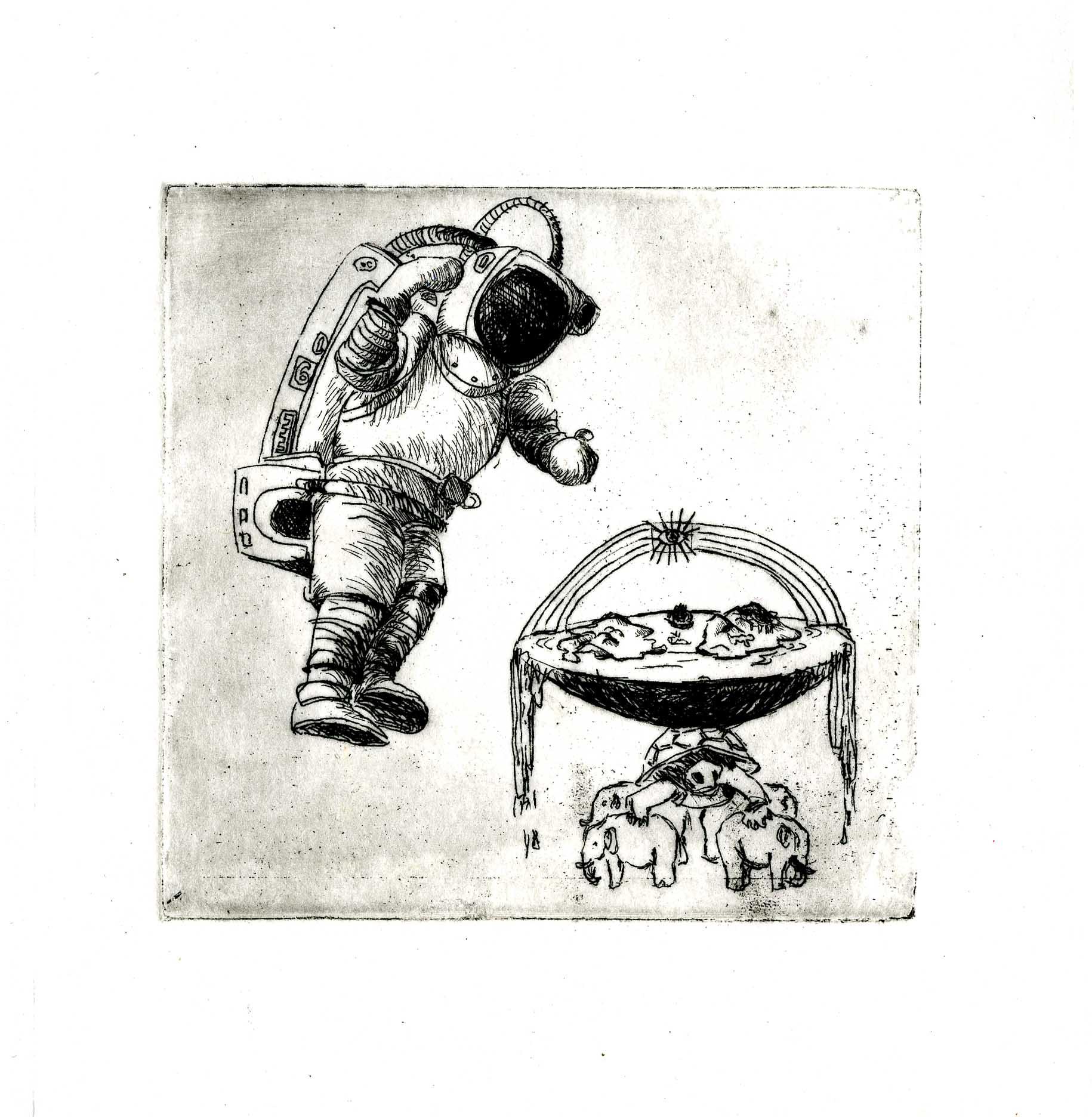 gravure astronaute